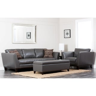 Abbyson Living Ravenna 3-piece Leather Sofa, Armchair, and Ottoman Set