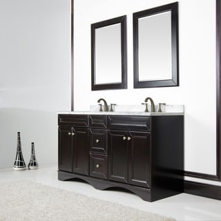 Espresso 60-inch Italian Ivory Carrera Marble Top Double Vanity with Mirrors
