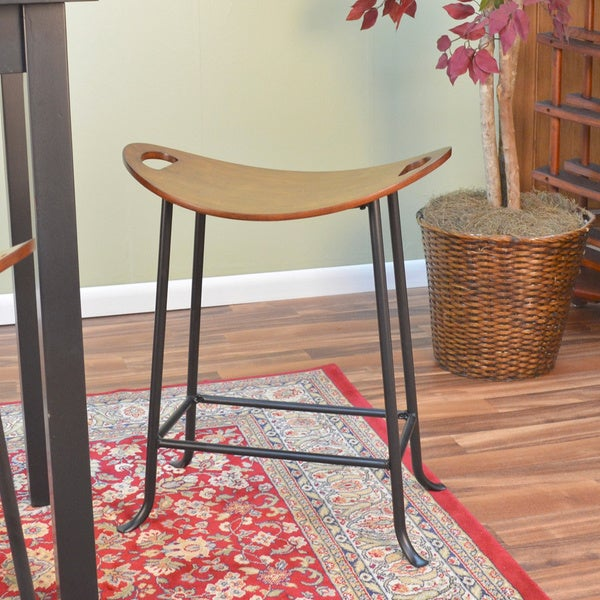 Ashton Chesnut/ Black Saddle Seat Stool