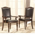 TRIBECCA HOME LaSalle Espresso Nail Head Transitional Dining Arm Chairs (Set of 2)