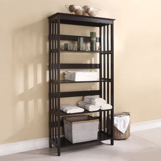 5-tier Espresso Wood Bookcase Display Cabinet