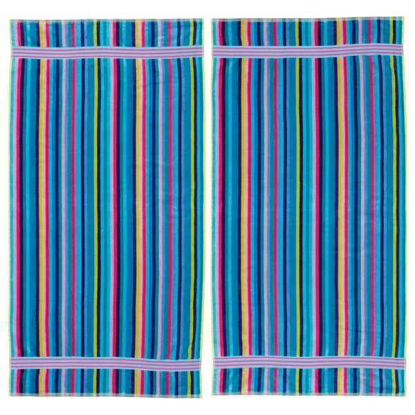 Stripe Velour Beach Towel (Set of 2) 12386568