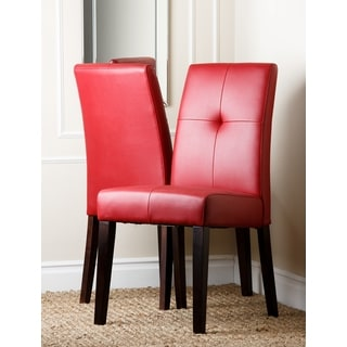 Abbyson Living 'Jersey' Red Leather Dining Chair (Set of 2)