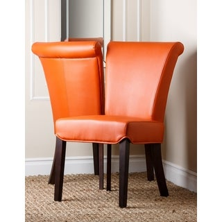 Abbyson Living 'Madison' Orange Leather Dining Chair (Set of 2)