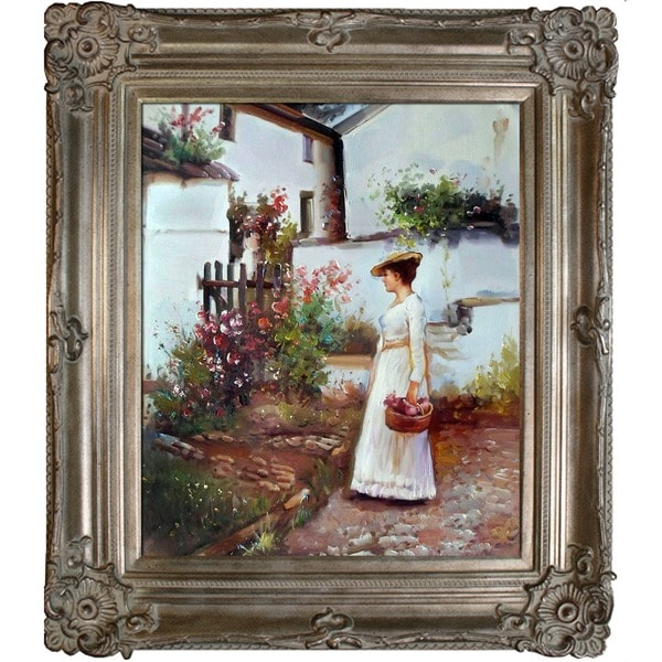 John William Waterhouse 'Gathering Summer Flowers in a Devonshire Garden' Hand-painted Framed Canvas Art