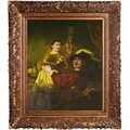 Rembrandt Harmenszoon Van Rijn 'Rembrandt and Saskia in the Parable of the Prodigal Son' Hand-painted Framed Canvas Art
