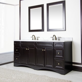 Espresso 72-inch Ivory Carrera Italian Marble Top Bath Vanity with Mirrors