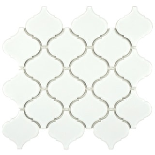 Somertile 9.75 x 10.75-inch Victorian Morocco Glossy White Porcelain Mosaic Tile (Pack of 10)