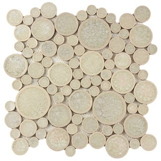 SomerTile 12 x 12-inch 'Crackle' Random Round Ice Ceramic Wall Tile (Case of 5)
