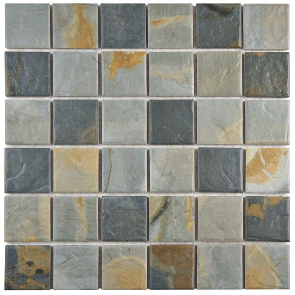 Somertile 12x12 inch pizarra slate porcelain mosaic floor for 10 inch floor tiles