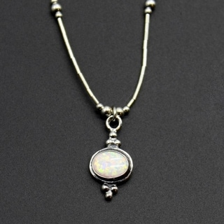 'Fiery Horizon' Sterling Silver White Opal Necklace (India)