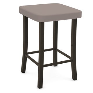 Amisco Ryan Brown Finish 30-inch Backless Bar Stool