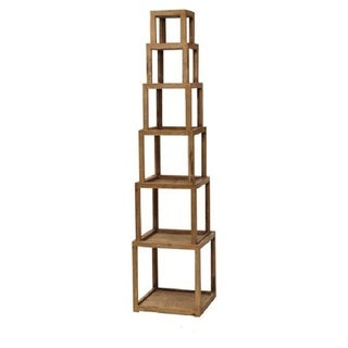 Light Brown Wooden 6-tier Storage Shelf