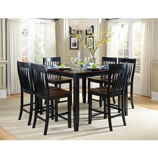 Canterbury 7-piece Brown/ Black Maple Wood Dining Set