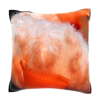 Orange Anemone (Orange Cereactis) 18-inch Velour Throw Pillow