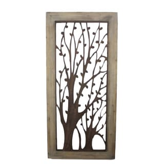 Handcrafted Tree Design Metal/ Wood Wall Plaque (China)