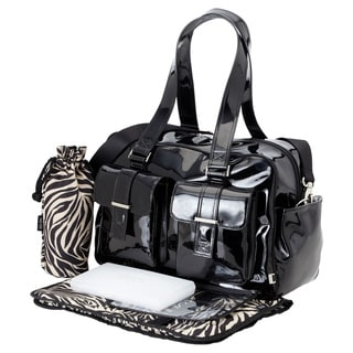 OiOi Black Patent Carry-all Diaper Bag