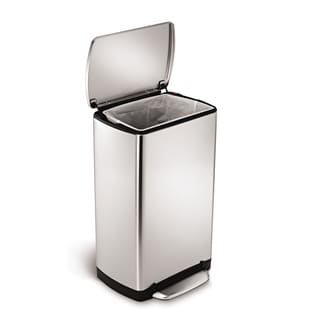 simplehuman Brushed Stainless Steel Wide-step Rectangular Can