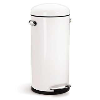 simplehuman White Steel Retro Step Can