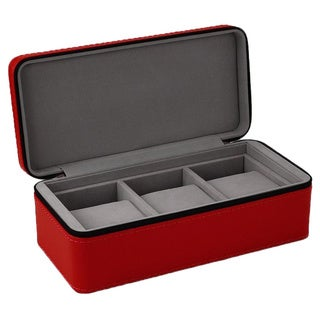 Android Leatherette 3-Slot Zipper Travel Case Red Watch Box
