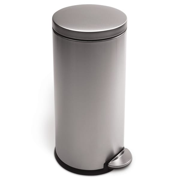 simplehuman Brushed Stainless Steel Round Step Can