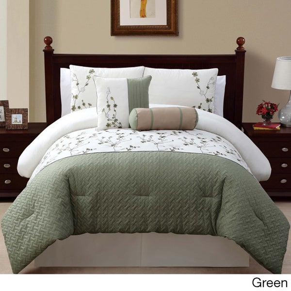 VCNY Sarah 5-piece Queen Size Comforter Set in Green (As Is Item)