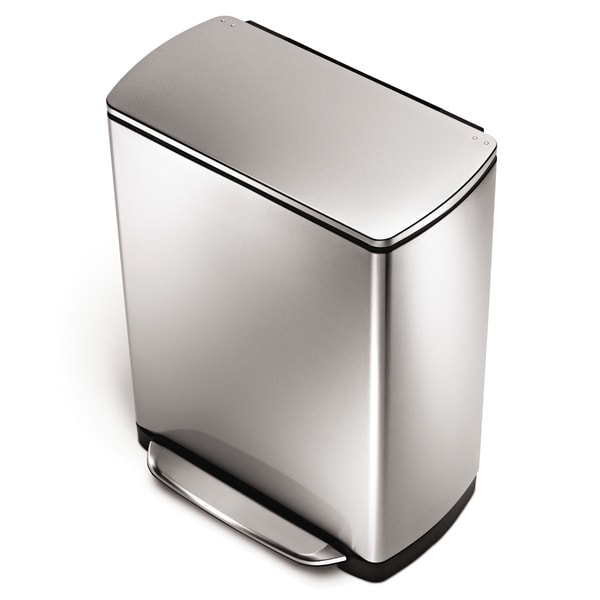 simplehuman Stainless Steel Wide Step Rectangular Can