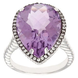 Sterling Silver Amethyst and Created White Sapphire Ring
