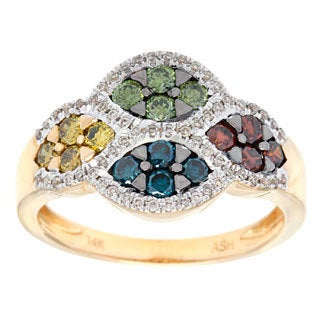 14k Yellow Gold 1/5ct TDW Multi-color Diamond Ring (SI1-SI2)