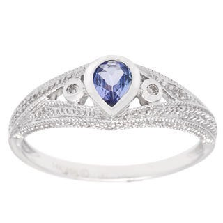 14k White Gold Pear-cut Tanzanite and Round-cut Diamond Accent Ring
