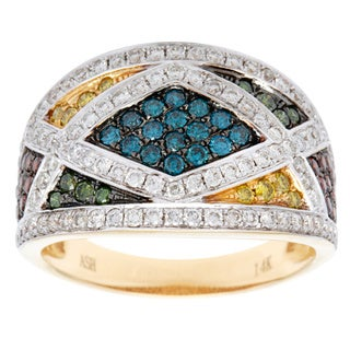14k Yellow Gold 1ct TDW Multi Color Diamond Ring (SI1-SI2)