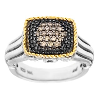 14k Gold over Silver 1/4ct TDW Brown Diamond Pave Ring