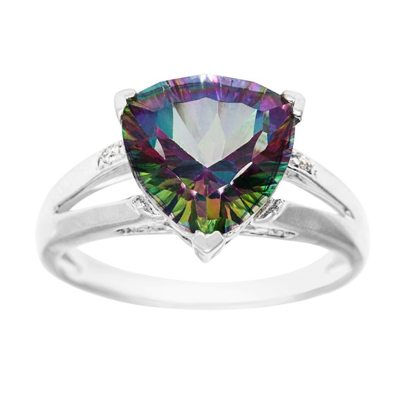 14k White Gold Mystic Topaz and Diamond Accent Ring