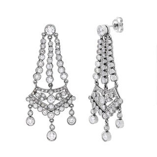 Platinum 3ct TDW White Diamond Chandelier Estate Earrings (H-I, VS1-VS2)