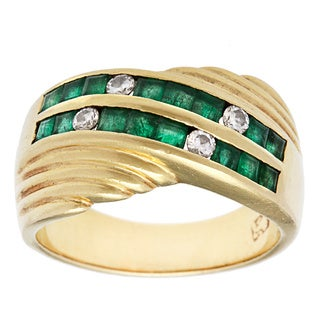 Pre-owned 18k Yellow Gold 1/7ct TDW Diamond and Emerald Estate Ring (I-J, SI1-SI2)