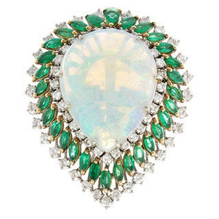 18k White Gold 2 1/2ct TDW 1970s Giant Opal and Emeralds Cocktail Ring (H-I, SI1-SI2)