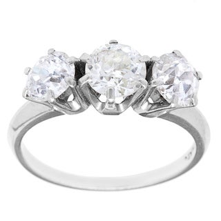 Platinum over Silver 2 1/2ct TDW Diamond 3-stone Engagement Ring (G-H, SI1-SI2)