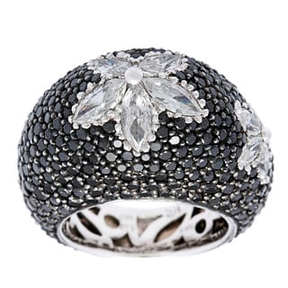 18k White Gold 5 2/3ct TDW Domed Floral Estate Ring (I-J, SI1-SI2)