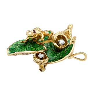 18k Yellow Gold 1/5ct TDW Estate Frog Brooch (G-H, SI1-SI2)