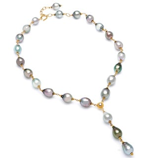 22k Yellow Gold 1/10ct TDW Tahitian Pearls Estate Necklace (I2-I3) (3 mm)