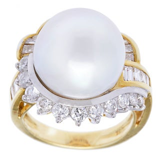 18k Yellow Gold 1 3/5ct TDW Pearl and Diamonds Cocktail Ring (H-I, SI1-SI2) (14-15 mm)