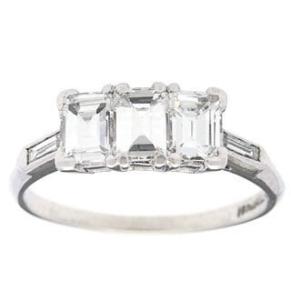 Platinum 1 1/4ct TDW Baguette-cut Diamond Estate Band Ring (F-G, VS1-VS2)