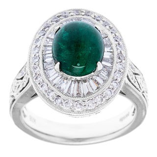 18k White Gold 1 1/2ct TDW and Emerald Estate Cocktail Ring (H-I, VS1-VS2)
