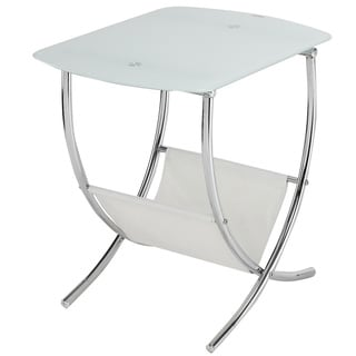 Chrome/ Frosted Glass Side Table with Magazine Holder