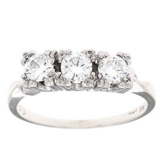 14k White Gold 3/4ct TDW Three-stone Estate Ring (H-I, VS1-VS2)