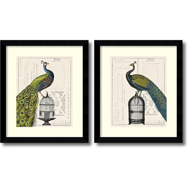 Sue Schlabach 'Peacock Birdcage - set' Framed Art Print 25 x 29-inch (Each)