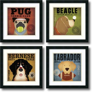 Stephen Fowler Sport Dogs - set of 4 Framed Art Print 18 x 18-inch (each)