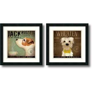 Stephen Fowler Coffee Dogs - set of 2 Framed Art Print 18 x 18-inch (each)