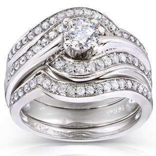 Annello 14k White Gold 7/8ct TDW Round Diamond 3-piece Bridal Rings Set (H-I, I1-I2)