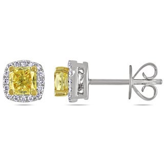 Miadora 14k Gold 1 1/8ct TDW Yellow Diamond Halo Stud Earrings (VVS2)